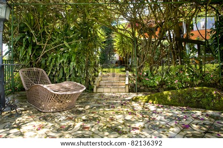 tropical patio - stock photo