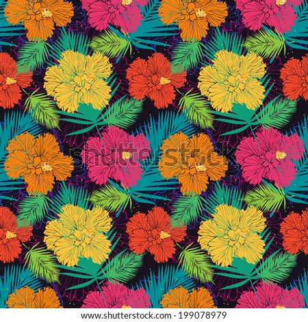 tropical pattern with hibiscuses - stock photo