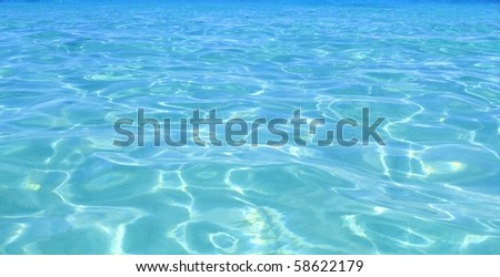 tropical perfect turquoise blue beach water caribbean perspective - stock photo