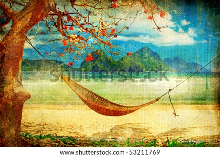 tropical pictures - retro styled - stock photo