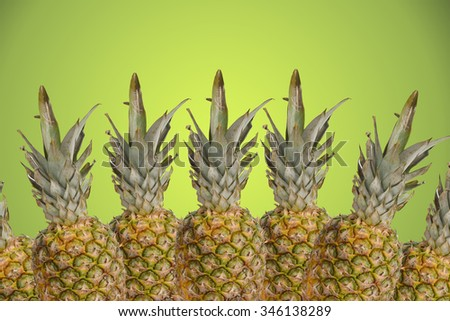 Tropical pinapples on green background isolated