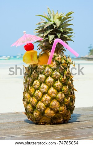 Tropical pineapple cocktail - stock photo