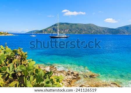 Tropical plants on coast of Kefalonia island with luxury yacht boat on sea in background, Greece - stock photo