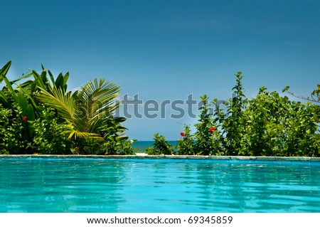 Tropical private pool near the sea - stock photo