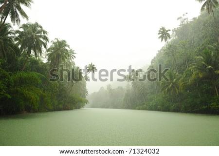 Tropical rain above river running through rainforest - stock photo