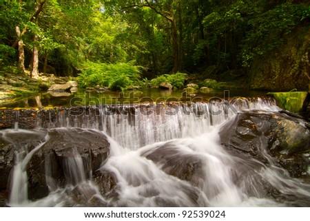Tropical Rainforest Water Fall Queensland - stock photo