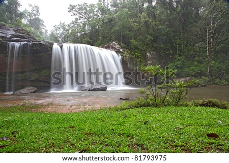 tropical rainforest waterfall in forest national park of Thailand