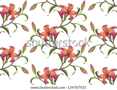 tropical red abstract lily seamless pattern isolated on white - stock photo