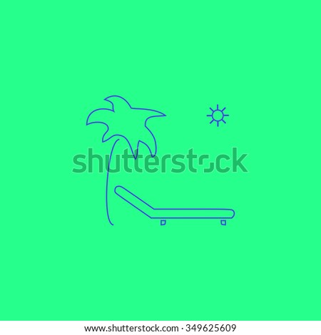 Tropical resort beach. Sunbed Chair. Simple outline illustration icon on green background - stock photo