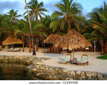 Tropical Resort in Morning Light at Ambergris Caye, Belize.
