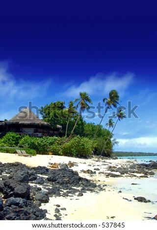 Tropical Resort on Aitutaki - stock photo