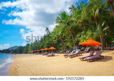 Tropical resort panorama in Koh Samui, Thailand - stock photo