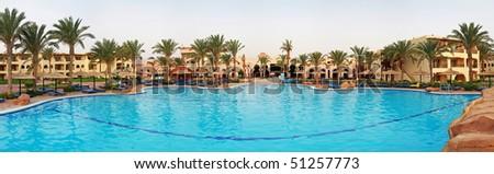 Tropical resort panoramic - stock photo