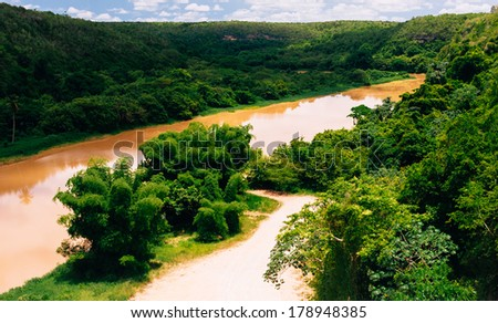 Tropical river Chavon in Dominican Republic. Vocation and travel - stock photo