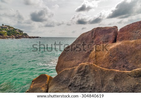 Tropical rock beach and sea summer nature landscape - stock photo