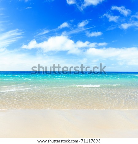Tropical sandy beach at summer sunny day - stock photo