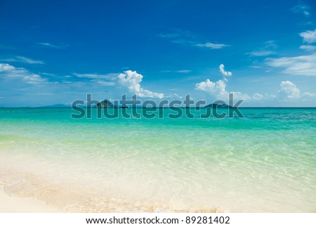 Tropical sandy beach at summer sunny day, Phi Phi Island, Thailand - stock photo
