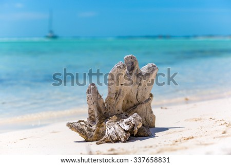 Tropical sandy beach of Cayo Largo island  - stock photo