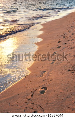 Tropical sandy beach with footprints at sunrise - stock photo