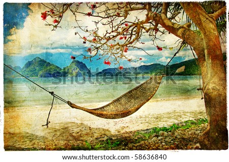 tropical scene- artwork in painting style - stock photo