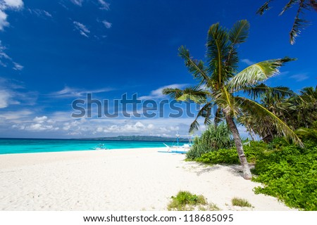 Tropical scene, Philippines, Puka Shell beach - stock photo