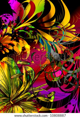 tropical scenic floral flying bird and exotic abstract floral and scroll vines - stock photo