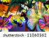 tropical scenic skyline with bold palmtrees, mosaic butterflies and abstract crystallized rainbow flowers - stock vector
