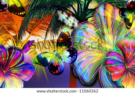 tropical scenic skyline with bold palmtrees, mosaic butterflies and abstract crystallized rainbow flowers - stock photo