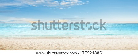 Tropical sea and cloudy sky. Panoramic shot - stock photo