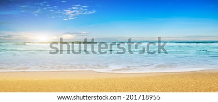 Tropical sea and cloudy sky. Panoramic shot - stock photo