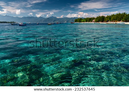 Tropical sea at sunny day near the island of Gili Trawangan, Indonesia