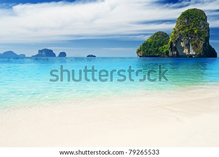 Tropical sea landscape. Thailand, Krabi, Railay beach. - stock photo