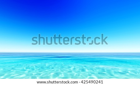 Tropical sea sky clouds blue 3D rendering - stock photo