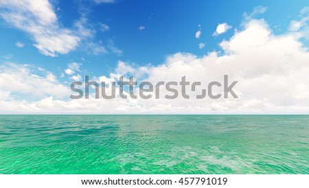 Tropical sea sky clouds blue 3D rendering