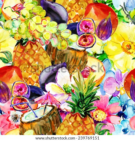 fruits and tropical flowers  Watercolor painting  - stock photo