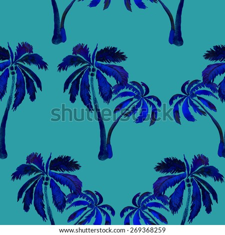 Tropical seamless pattern with palm trees and coconuts.