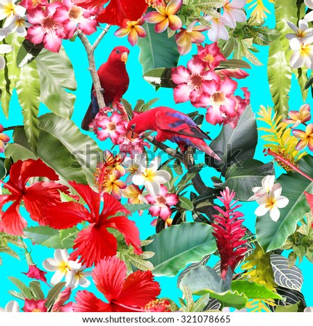 Tropical seamless pattern with tropical flowers, birds, tropical plants and leaves. Realistic photo collage of tropical rainforest - stock photo