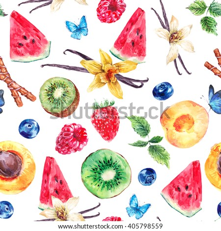 Tropical  Seamless Watercolor Pattern Natural Healthy Food Eco Pattern with Watermelon, Apricot, Kiwi, Vanilla and Berries Pattern, Exotic Menu Fruit Card on white background - stock photo