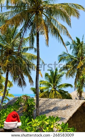 Tropical seascape on the island Ranveli with Santa hat (The Indian Ocean, Maldives) - stock photo