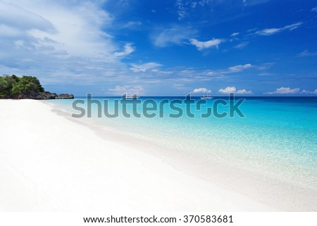 Tropical seascape with turquoise sea and white sandy beach, nobody - stock photo