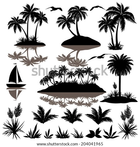 Tropical set, sea island with palm trees, plants, flowers, birds gulls and ship, black silhouettes isolated on white background. - stock photo