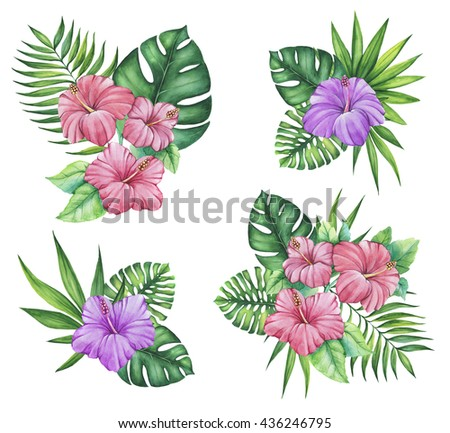 Tropical Set With Pink And Purple Hibiscuses Exotic Flowers Palm Leaves In Bouquets