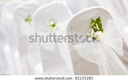 Tropical settings for a wedding on mountain - stock photo