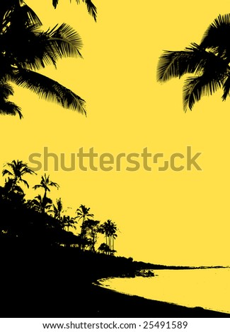 Tropical silhouette of beach, palm trees and ocean lagoon against solid gold background color, lots of space for copy - stock photo