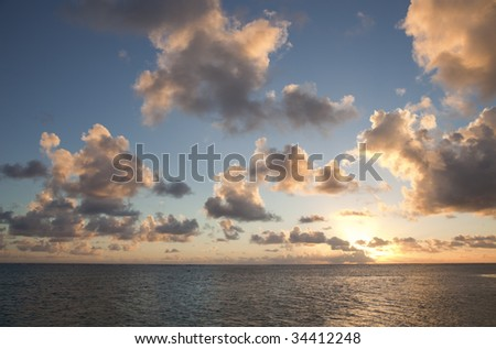 Tropical Sky with Cloudscape and Sun - stock photo