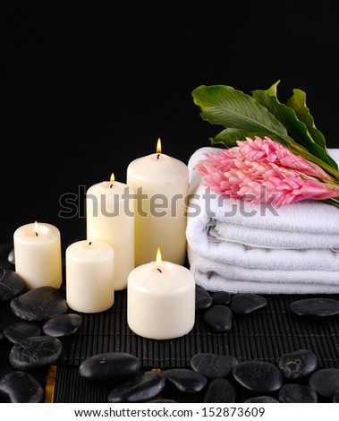 Tropical Spa feeling with Ginger flower with ,towel ,white candle, stones