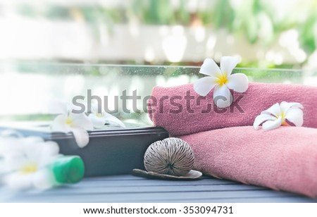 tropical spa on blur nature background - stock photo