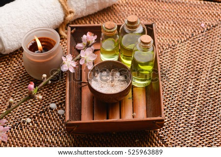 Tropical Spa setting on mat background