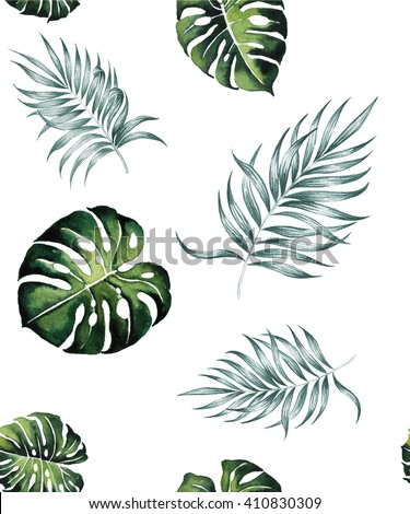 tropical Split  leaves and Silk palm plant tropical exotic leaves watercolor pattern seamless spring summer hawaii , design print ,textile backdrop,wallpaper isolated on white background  - stock photo