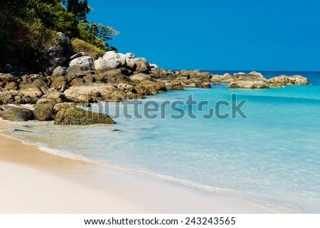 Tropical stones beach. Phuket island. Thailand  - stock photo